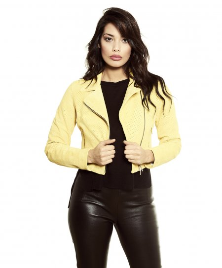 ALICE • couleur jaune • veste courte cuir velours perforé style perfecto