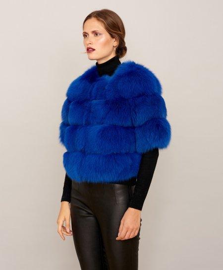 Veste fourrure renard femme avec manche courte • couleur bleue