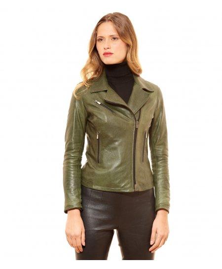 PAOLA • couleur verte • veste en cuir femme perfecto cuir pull up aspect vintage
