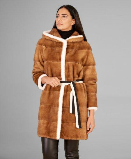 Manteau fourrure vison femme capuche et manche 3/4 • couleur miel